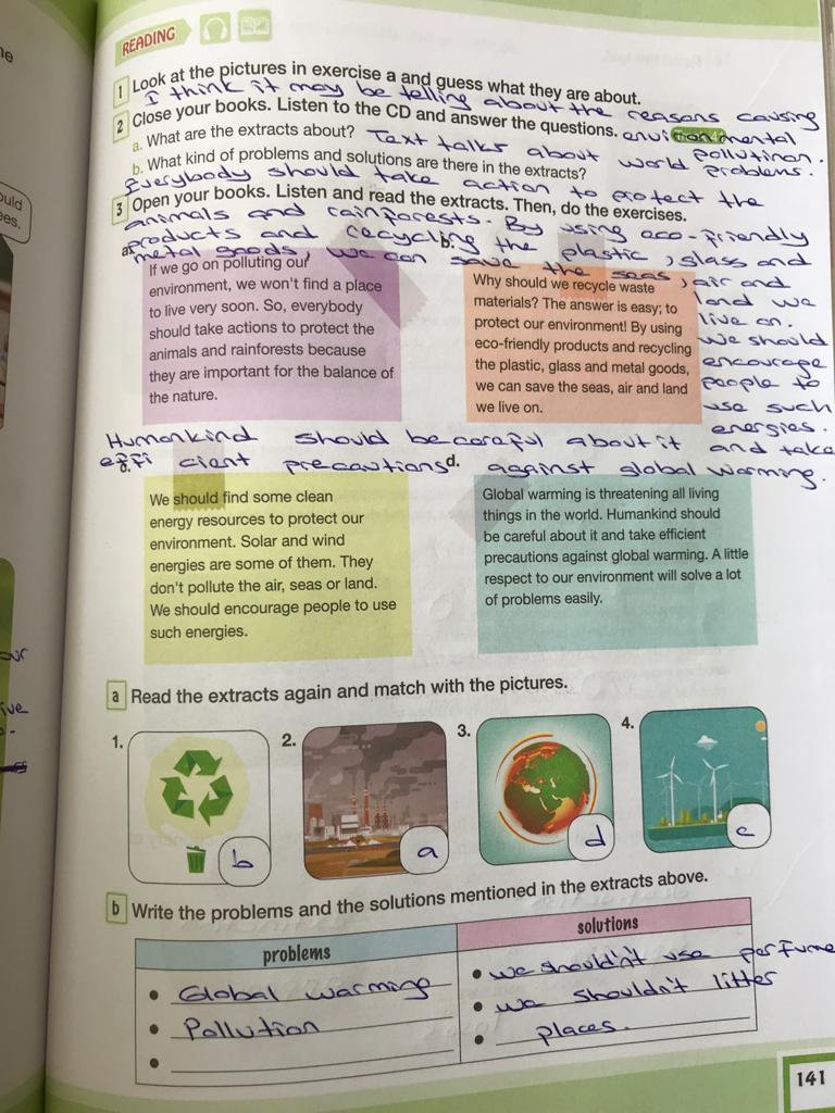 7. sınıf ingilizce bilim ve kültür yayınları cevapları sayfa 141