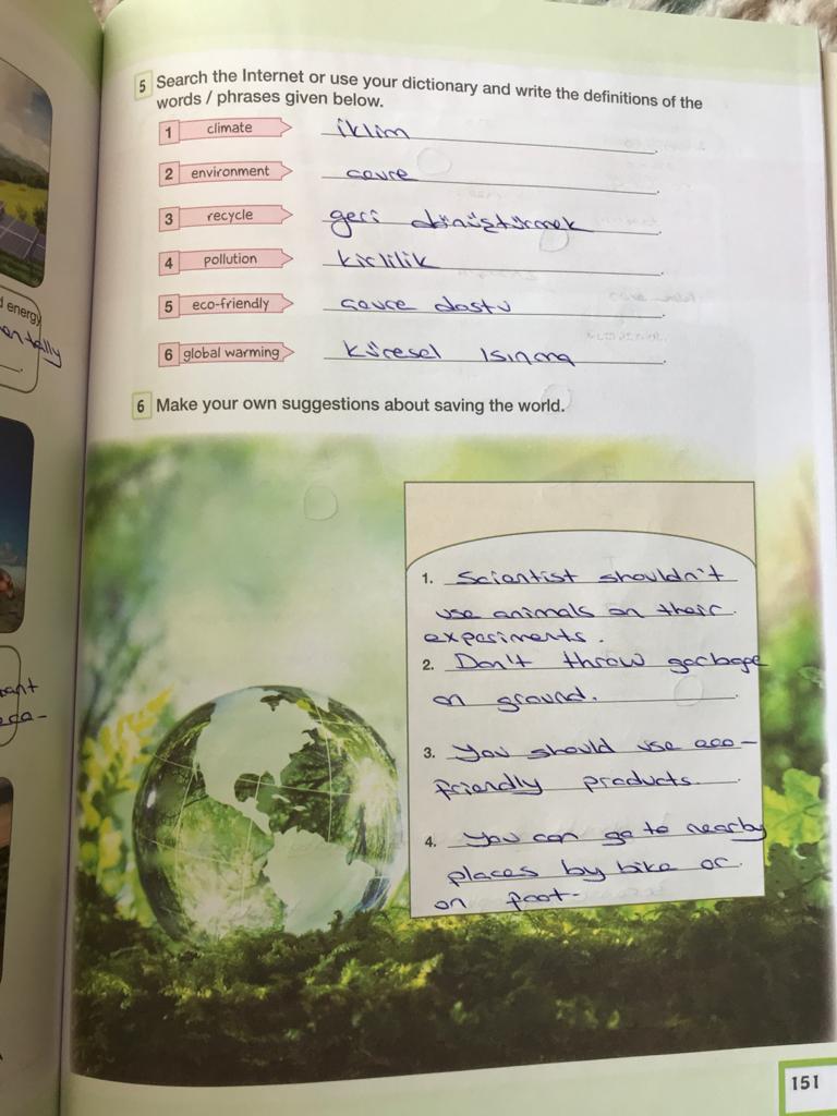 7. sınıf ingilizce bilim ve kültür yayınları cevapları sayfa 151